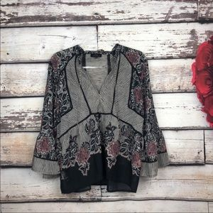 Lucky Brand Womens Peasant Top Sheer Floral Print